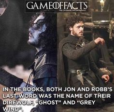 """In the books, both Jon and Robb's last word was the name of their direwolf, """"Ghost"""" and """"Grey Wind"""""""