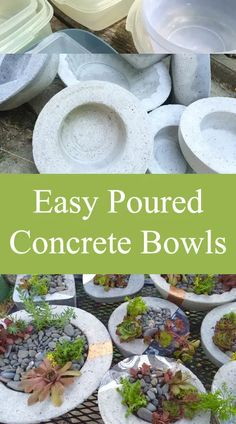 Easy Poured Concrete Bowls - simple poured concrete vessels - My Tried and Tested and Posted Projects - Outdoor Diy Concrete Planters, Concrete Molds, Cement Pots, Poured Concrete, Concrete Cement, Concrete Garden, Diy Planters, Succulent Planters, Succulents Garden