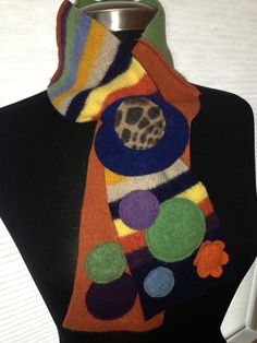 e3a6efbb700c Striped Mini Keyhole Scarflette Recycled Sweater Felted Wool Scarf - green,  orange, navy.