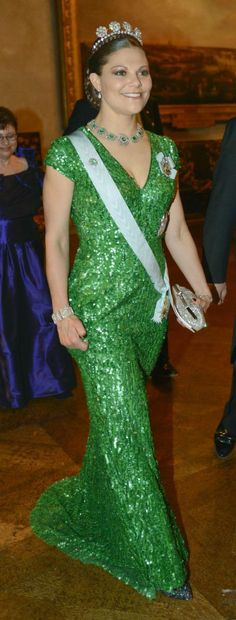 The Swedish Crown Princess at the Nobel prize party - isn't she beautiful in Elie Saab!