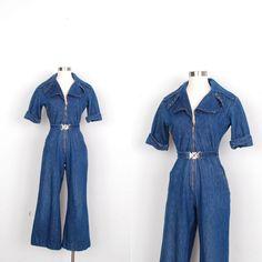 280ee9867ce1 Vintage 1970s Jumpsuit   70s Flare Leg Denim Jumpsuit   Blue Jean (medium M)