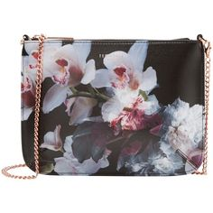 Ted Baker Cailey Ethereal Posie Across Body Bag , Black ($115) ❤ liked on Polyvore featuring bags, handbags, shoulder bags, black, leather hand bags, leather handbags, black crossbody purse, crossbody purse and black leather handbags