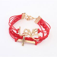Romantic Love Password Cross Bracelet
