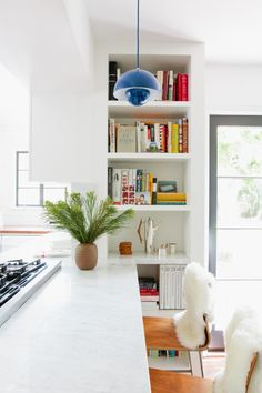 A New England Kitchen by Way of LA - Remodelista Small Spaces, Interior, Bookshelves Built In, Kitchen Remodel, New England Kitchen, Home Decor, Kitchen Redo, Kitchen Bookshelf, Kitchen Renovation
