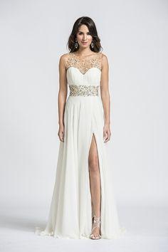 c34c4b3f4df 2014 Scoop Neckline Beaded Prom Dress Tulle Chiffon With Slit Sweep Train Chiffon  Evening Dresses