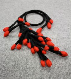 felted jewelry  RED BUDS