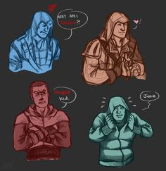 So here are the one and only Conner, Ezio, Altair, & last but not least Desmond! Assassin's Creed belongs to Ubisoft Art is MINE (ReaperClamp) The Assassins Assassins Creed Memes, Assassins Creed Odyssey, Assassin's Creed Hidden Blade, All Assassin's Creed, Detroit Become Human, Funny Photos, Dc Comics, Funny Memes, Deviantart