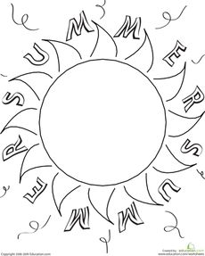 Sun safety coloring sheet Lessons to learn Pinterest