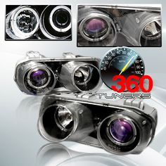 94-97 Acura Integra Halo Projector Headlights, with Xenon HID Lighting System - Pair (Black/Clear Lenses)