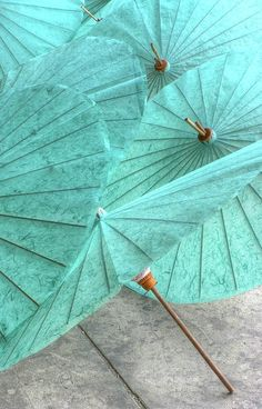 Aqua Parasols - Color Note: Aqua and Gray Turquoise Color, Shades Of Turquoise, Shades Of Blue, Turquoise Jewelry, Gray Color, Tiffany Blue, Verde Tiffany, Aqua Blue, Mint Green