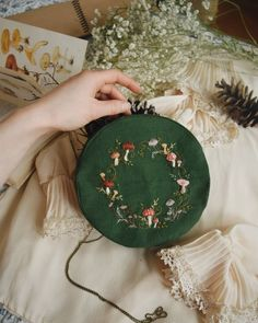 I made some round bags and enjoyed the process sooo much! Sold out. 🌿 More green on these gloomy February days :) Diy Embroidery, Cross Stitch Embroidery, Embroidery Patterns, Craft Projects, Sewing Projects, Diy And Crafts, Arts And Crafts, Soft Grunge, Cross Stitching