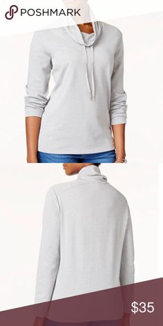 Karen Scott, Funnel-Neck Active Sweatshirt Color: Smoke Grey Heat  Product Details: Karen Scott reworks your casual collection with this active sweatshirt, a cozy staple designed with a unique neckline and drawstring.   - Relaxed Fit -  Hits at hip - Cotton/Polyester - Machine Washable Karen Scott Tops Sweatshirts & Hoodies