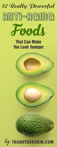 12 Really Powerful Anti-Aging Foods That Can Make You Look Younger. Have a glowing and younger-looking skin by follow this diet! Beauty recipes for your aging skin https://www.thankyourskin.com/anti-aging-foods-look-younger/