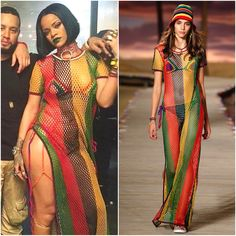 Rihanna work  ANTI Spring 2016 Tommy Hilfiger Bikini And Round Crochet Short Sleeve Cover Up Dress