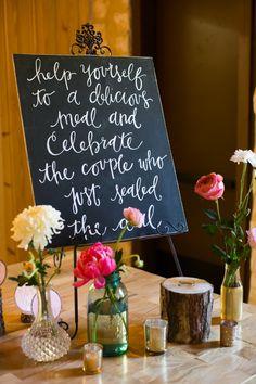 Rustic wedding food buffet sign