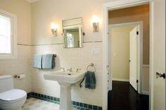 DIMITY 2008 Image detail for -bathrooms - Farrow & Ball - Dimity - Vintage bathroom Ann Sacks tiles . Bathroom Paint Colors, Bathroom Red, Bathroom Ideas, Bathrooms, Bathroom Faucets, Blue Gray Paint Colors, Vanity Lamp, Grey Countertops, Bathtub Remodel