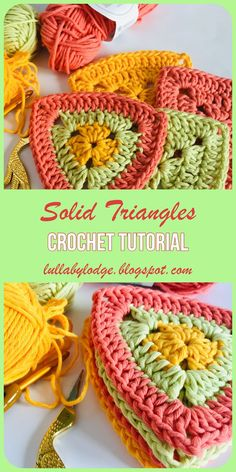 Solid Triangles A crochet tutorial by Lullaby Lodge Learn how to make solid crochet triangles in this easy tutorial by Lullaby Lodge Suitable for beginner crocheters Crochet Triangle Pattern, Crochet Motifs, Crochet Blocks, Crochet Squares, Crochet Blanket Patterns, Crochet Bunting Pattern, Crochet Granny, Afghan Patterns, Square Patterns