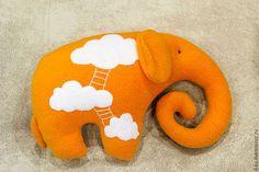 Игрушки животные, ручной работы. Ярмарка Мастеров - ручная работа. Купить Игрушка-подушка Слон в облаках. Handmade. Оранжевый, облако