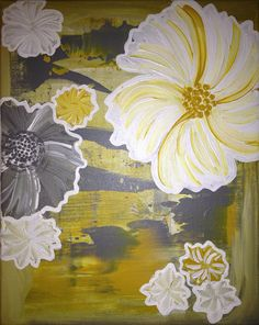 Flowers in Grey and Yellow by CoFallonArt on Etsy, $35.00