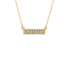 Anna Beck Bar Necklace in Gold Gold plated link chain Each piece in the collection is layered with tiny gold or silver disks, with each disk of precious metal i Gold Bar Necklace, Arrow Necklace, Bridal Party Jewelry, Fine Jewelry, Jewelry Making, Necklace Designs, Bling, Engagement Rings, Jewels