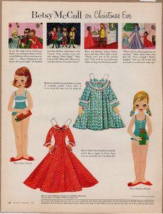 BETSY McCALL CHRISTMAS EVE DRESSES VINTAGE 1950s PAPER DOLLS MAGAZINE PRINT
