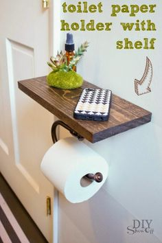 Best DIY Projects: DIY Toilet Paper Holder with Shelf tutorial @DIY Show Off