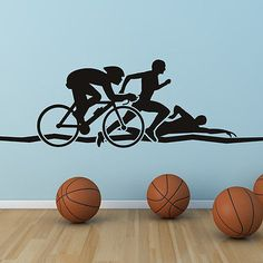 Triathlon athletics wall art #sticker wall #decals #transfers, View more on the LINK: http://www.zeppy.io/product/gb/2/330771444539/