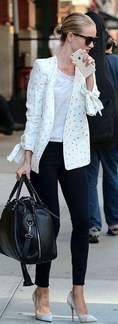 Who made  Rosie Huntington-Whiteleys white print blazer, black jeans, sunglasses, white tee, and black handbag?