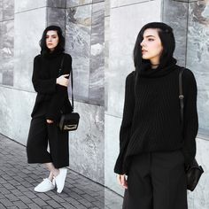 Holynights Claudia - Sheinside Chunky Knit Turtleneck Sweater, Culottes - Black on black