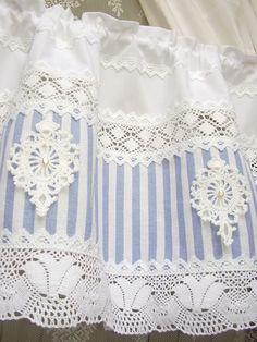 Curtains – Shabby chic Landhausgardine blau Bistrogardine 48 – a unique product…