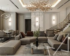 Living area with Neo-classic style on Behance Interior Architecture, Interior Design, Living Area, Classic Style, Villa, Couch, Behance, Room, Furniture
