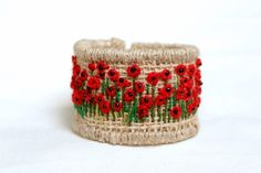 Bracelets – Handmade bracelet with embroidered poppy flowers. – a unique product by Goxua on DaWanda