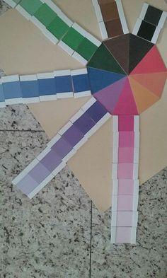 Estímulo visual - discriminação de cores. Imprimi essa atividade montessoriana e colei no EVA.