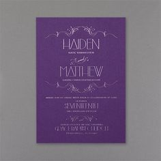 Wispy - Invitation - Purple Shimmer. Available at Persnickety Invitation Studio.