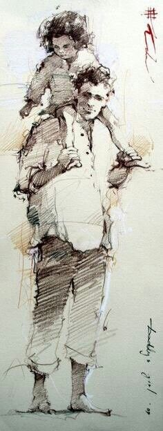 """Andre Kohn' piece, """"Daddy' Girl,"""" ---- Andre Kohn, russian painter, was born in Stalingrad in but was raised in the southernmost region of the Former Soviet Union near the Caspian Sea. Life Drawing, Drawing Sketches, Art Drawings, Figure Drawings, Portrait Sketches, Pen Sketch, Drawing Ideas, Figure Sketching, Urban Sketching"""