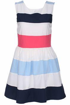 ROMWE Striped Print Sleeveless Red Dress