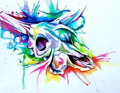 Rainbow Cow Skull Tattoo by Lucky978.deviantart.com on @deviantART