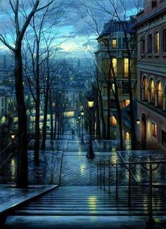 Montmartre, Paris France on a rainy night