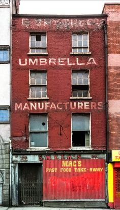 Umbrella Manufacturers: Derelict building on Essex Quay, Dublin, Medium format photographs taken in combined to panorama in by David Jazay. Dublin Street, Dublin City, Derelict Buildings, Abandoned Houses, Abandoned Places, Old Pictures, Old Photos, Beautiful Ruins, Photo Engraving