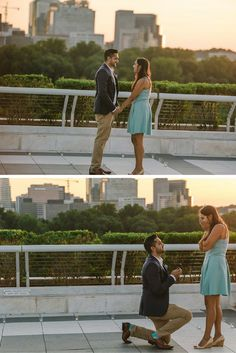 He asked her to marry him at sunset with all of their loved ones there to celebrate! It was the perfect surprise proposal.