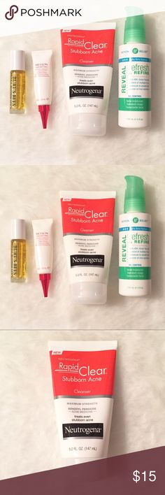 Acne Prone Skin Product Bundle Neutrogena Acne prone skin product bundle.  Neutrogena Rapid Clear Stubborn Acne maximum strength benzoyl peroxide 10% Beyond Belief Alpha Beta Hydroxy moisturizer Burt 🐝Herbal Blemish Stick Revlon Age Defying Wrinkle Remedy Line Filler  ALL Full and purchased within the last 6 months. Burt's Bees Other