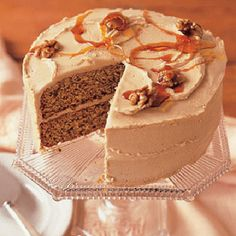 Maple Walnut Cake with Maple-Sugar Frosting -- Cake recipe is here: http://www.countryliving.com/recipefinder/maple-walnut-cake-3164 and frosting here: http://www.countryliving.com/recipefinder/maple-sugar-frosting-3952