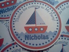 Personalized Sailboat Nautical Theme 3 Favor by PartyCelebrations, $5.50