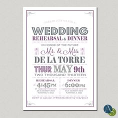 Wedding Rehearsal & Dinner Invitation  5x7 by AlexisScottInteriors, $17.50