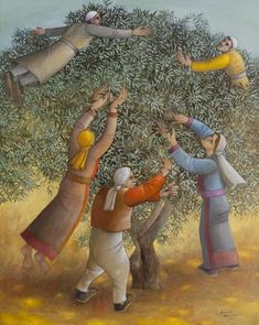 From Kiyan Art, Sliman Mansour, (ca. Oil on canvas, 100 × 80 cm Middle Eastern Art, Olive Tree, Paintings I Love, Figurative Art, Oil On Canvas, Arts And Crafts, Artsy, Artwork, Palestine