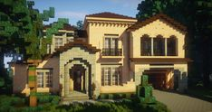 traditional house – mediterranean style (spanish villa) Minecraft Project - Minecraft World Villa Minecraft, Plans Minecraft, Architecture Minecraft, Modern Minecraft Houses, Minecraft Structures, Minecraft Room, Minecraft Houses Blueprints, Minecraft City, Amazing Minecraft