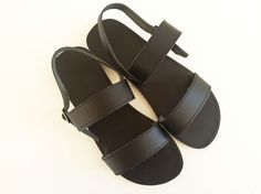 Women Open Toe Leather Sandals  Black Leather by Leatherhood