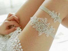 These Sweet & Sexy Wedding Garters Will Make Your Love's Jaw Drop!:   Floral and Lace Garter Set
