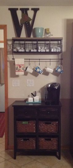 My new coffee bar! Shelf and cabinet from Hobby Lobby.