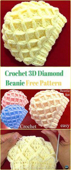 Crochet 3D Diamond Beanie Video - Crochet Beanie Hat Free Patterns